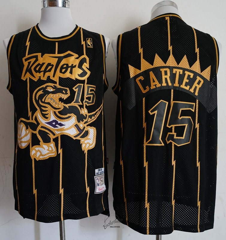 Choisir Maillot NBA Toronto Raptors NO.15 Vince Carter Retro Or Noir 1998-99