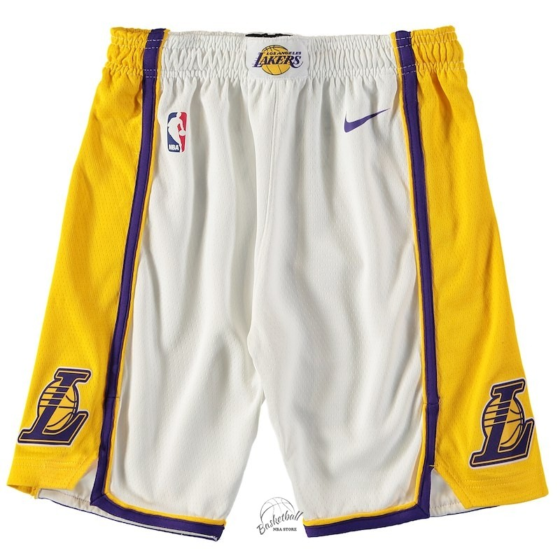 Choisir Short Basket Enfant Los Angeles Lakers Nike Blanc 2018