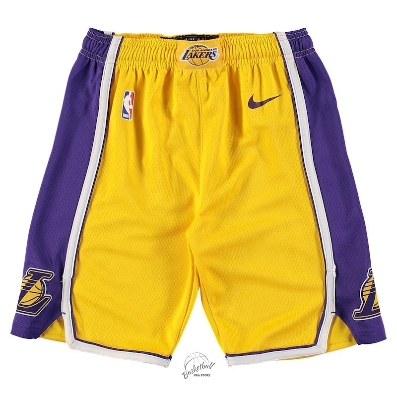 Choisir Short Basket Enfant Los Angeles Lakers Nike Jaune 2018