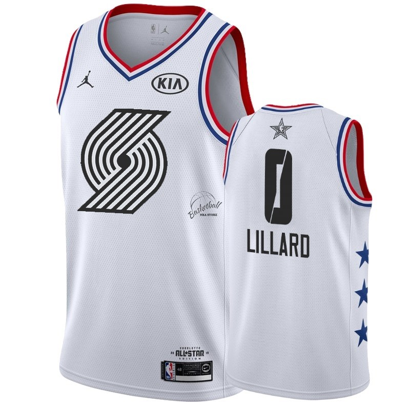 Choisir Maillot NBA 2019 All Star NO.0 Damian Lillard Blanc