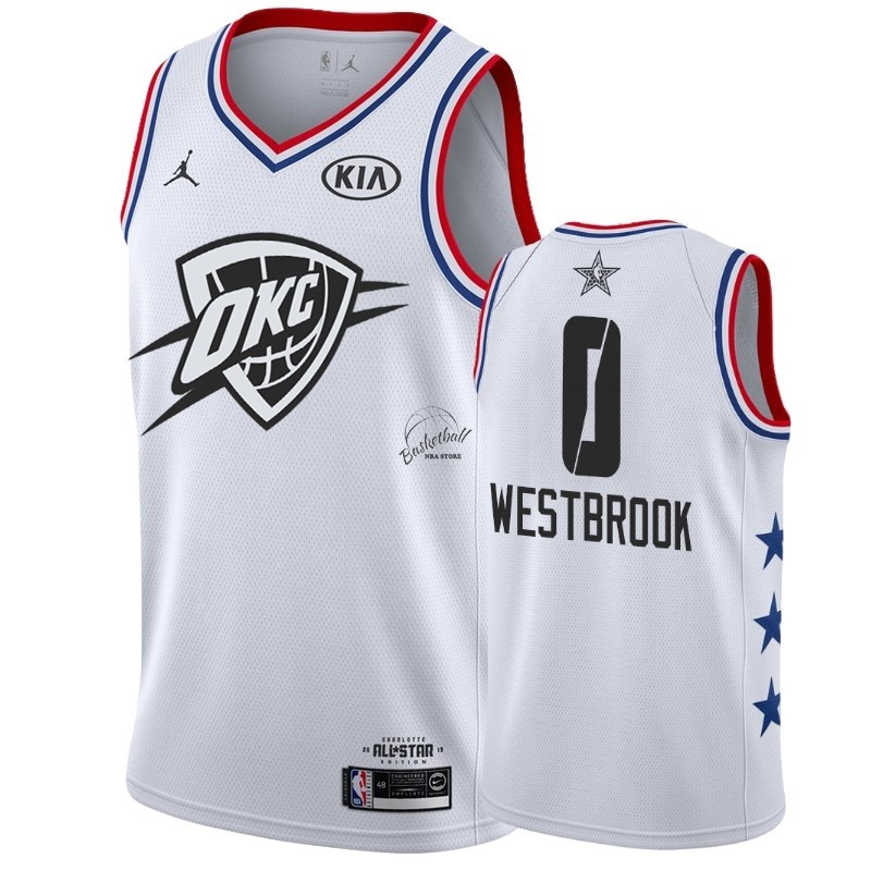 Choisir Maillot NBA 2019 All Star NO.0 Russell Westbrook Blanc