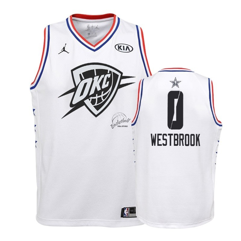 Choisir Maillot NBA Enfant 2019 All Star NO.0 Russell Westbrook Blanc