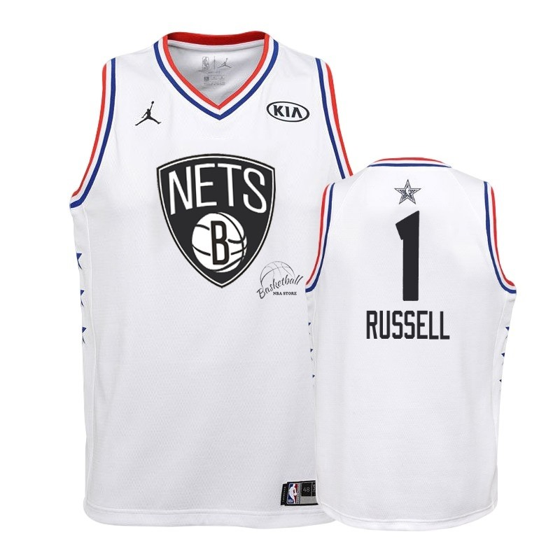 Choisir Maillot NBA Enfant 2019 All Star NO.1 DAngelo Russell Blanc