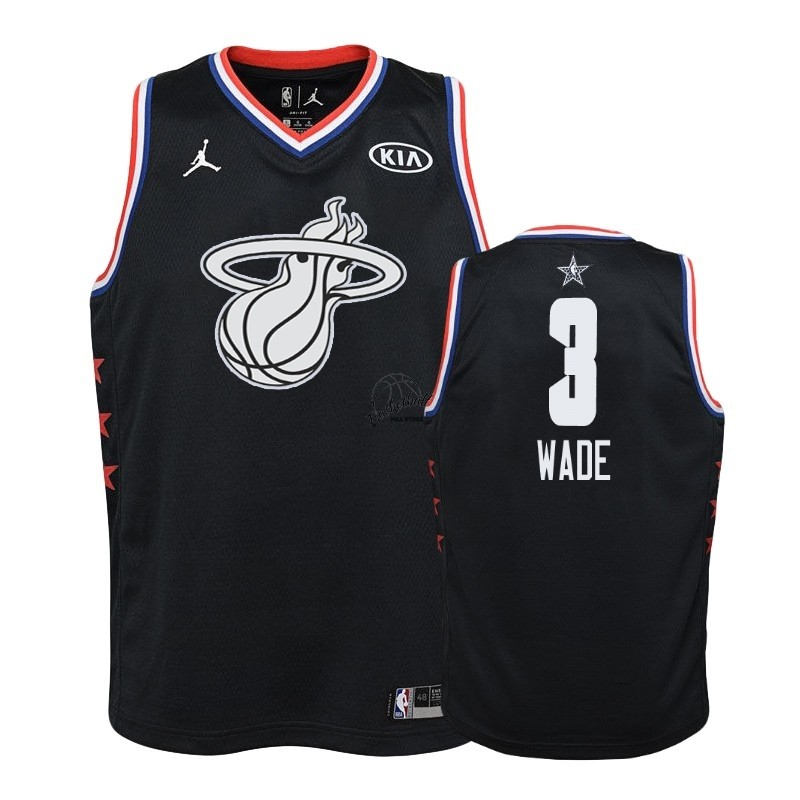 Choisir Maillot NBA Enfant 2019 All Star NO.3 Dwyane Wade Noir