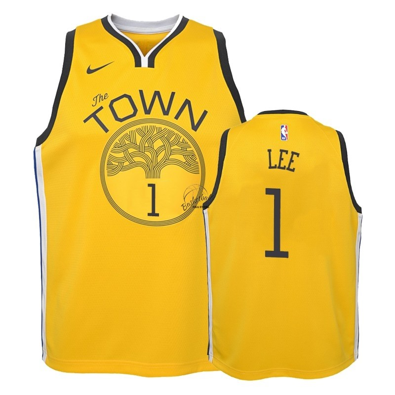 Choisir Maillot NBA Enfant Earned Edition Golden State Warriors NO.1 Damion Lee Jaune 2018-19
