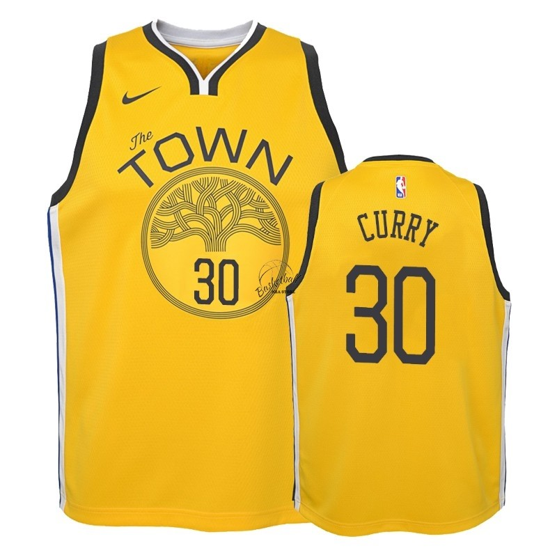 Choisir Maillot NBA Enfant Earned Edition Golden State Warriors NO.30 Stephen Curry Jaune 2018-19
