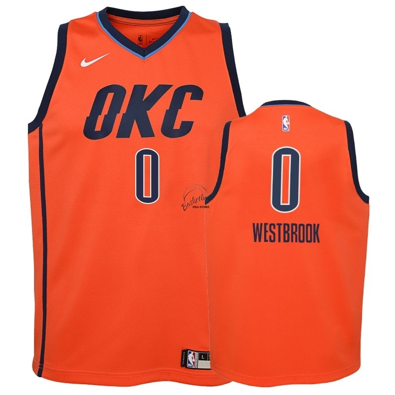 Choisir Maillot NBA Enfant Earned Edition Oklahoma City Thunder NO.0 Russell Westbrook Orange 2018-19