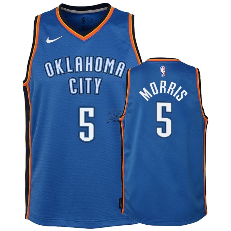 Choisir Maillot NBA Enfant Oklahoma City Thunder NO.5 Markieff Morris Bleu Icon 2018