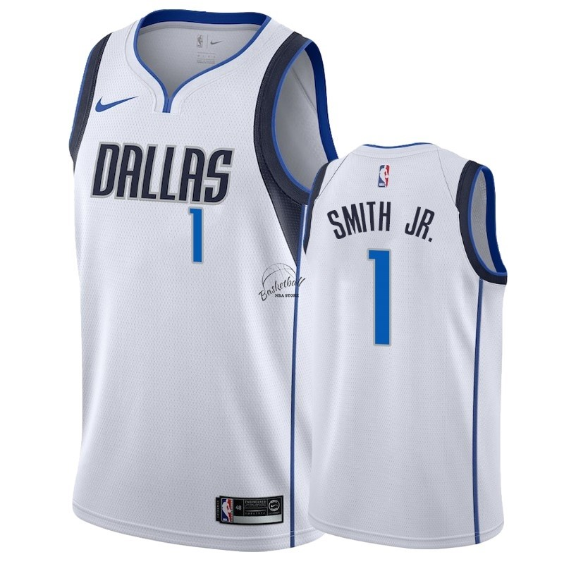 Choisir Maillot NBA Nike Dallas Mavericks NO.1 Dennis Smith Jr Blanc Association 2018-19