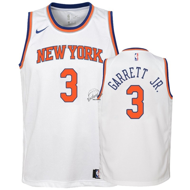 Choisir Maillot NBA Enfant New York Knicks NO.3 Billy Garrett Jr. Blanc Association 2018-19
