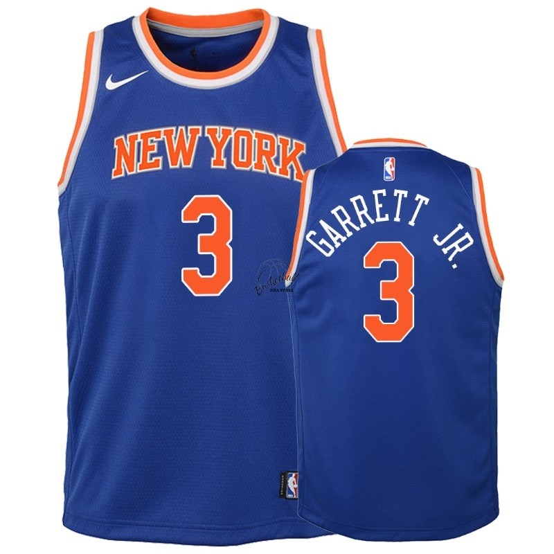 Choisir Maillot NBA Enfant New York Knicks NO.3 Billy Garrett Jr. Bleu Icon 2018-19