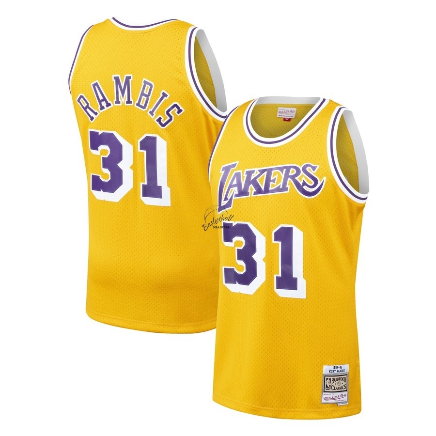 Choisir Maillot NBA Los Angeles Lakers NO.31 Kurt Rambis Jaune Hardwood Classics 1984-85