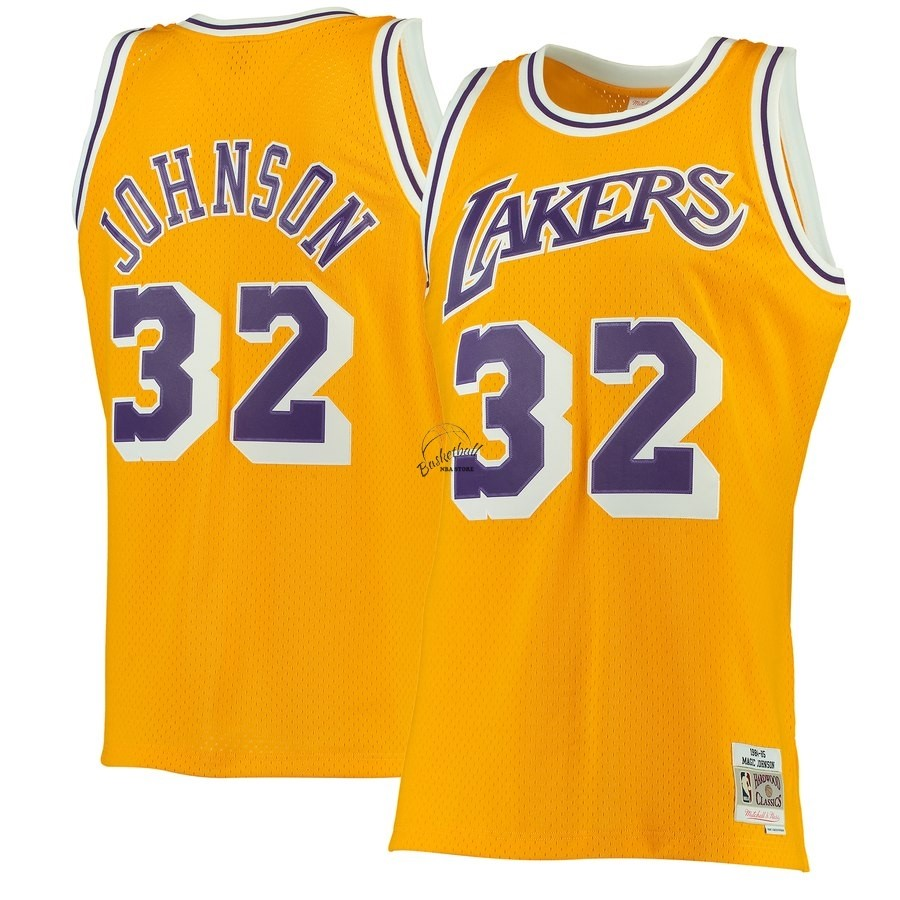 Choisir Maillot NBA Los Angeles Lakers NO.32 Magic Johnson Jaune Hardwood Classics 1984-85