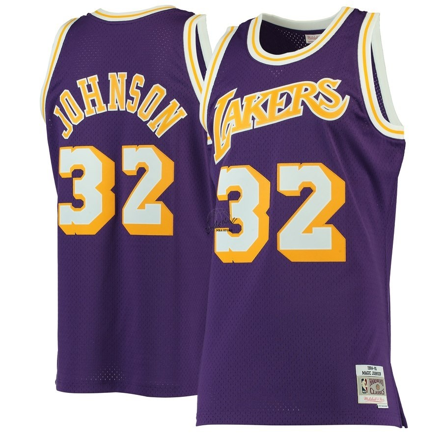 Choisir Maillot NBA Los Angeles Lakers NO.32 Magic Johnson Pourpre Hardwood Classics 1984-85