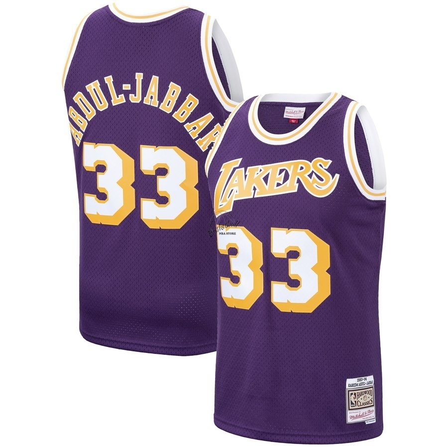 Choisir Maillot NBA Los Angeles Lakers NO.33 Kareem Abdul Jabbar Pourpre Hardwood Classics 1983-84