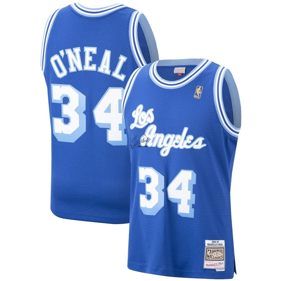 Choisir Maillot NBA Los Angeles Lakers NO.34 Shaquille O'Neal Bleu Hardwood Classics 1996-97