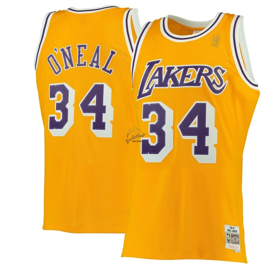 Choisir Maillot NBA Los Angeles Lakers NO.34 Shaquille O'Neal Jaune Hardwood Classics 1996-97