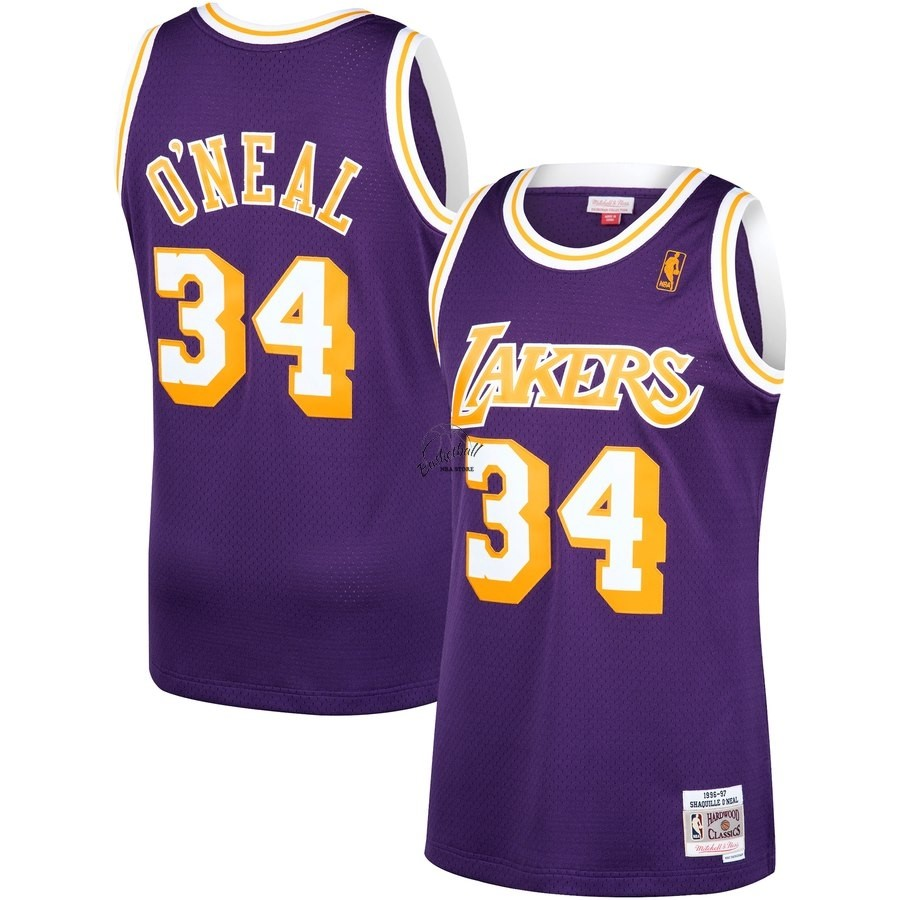 Choisir Maillot NBA Los Angeles Lakers NO.34 Shaquille O'Neal Pourpre Hardwood Classics 1996-97
