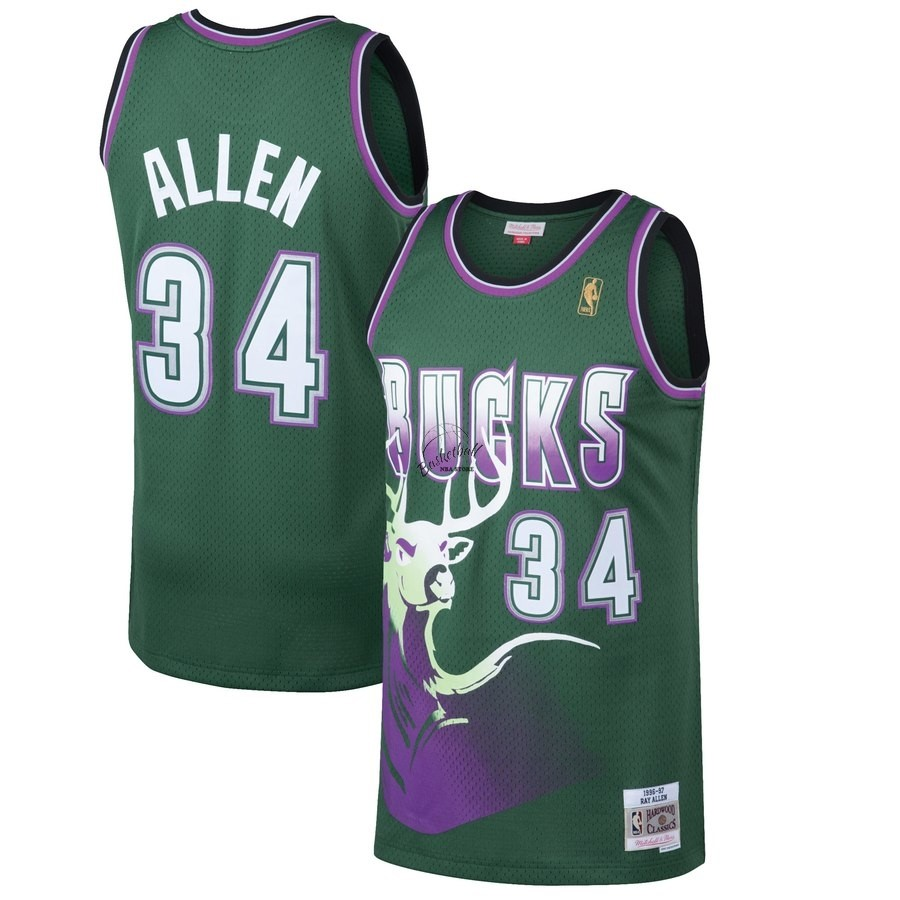 Choisir Maillot NBA Milwaukee Bucks NO.34 Ray Allen Vert Hardwood Classics 1996-97