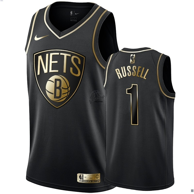 Choisir Maillot NBA Nike Brooklyn Nets NO.1 D'Angelo Russell Or Edition