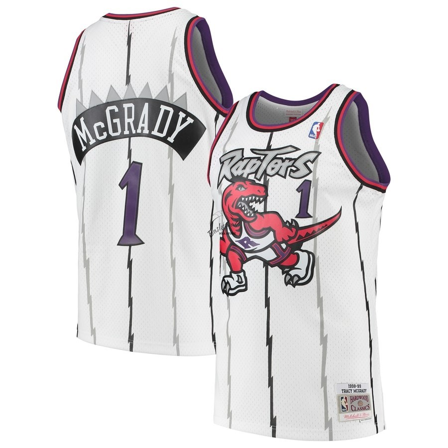 Choisir Maillot NBA Toronto Raptors NO.1 Tracy McGrady Blanc Hardwood Classic 1998-99