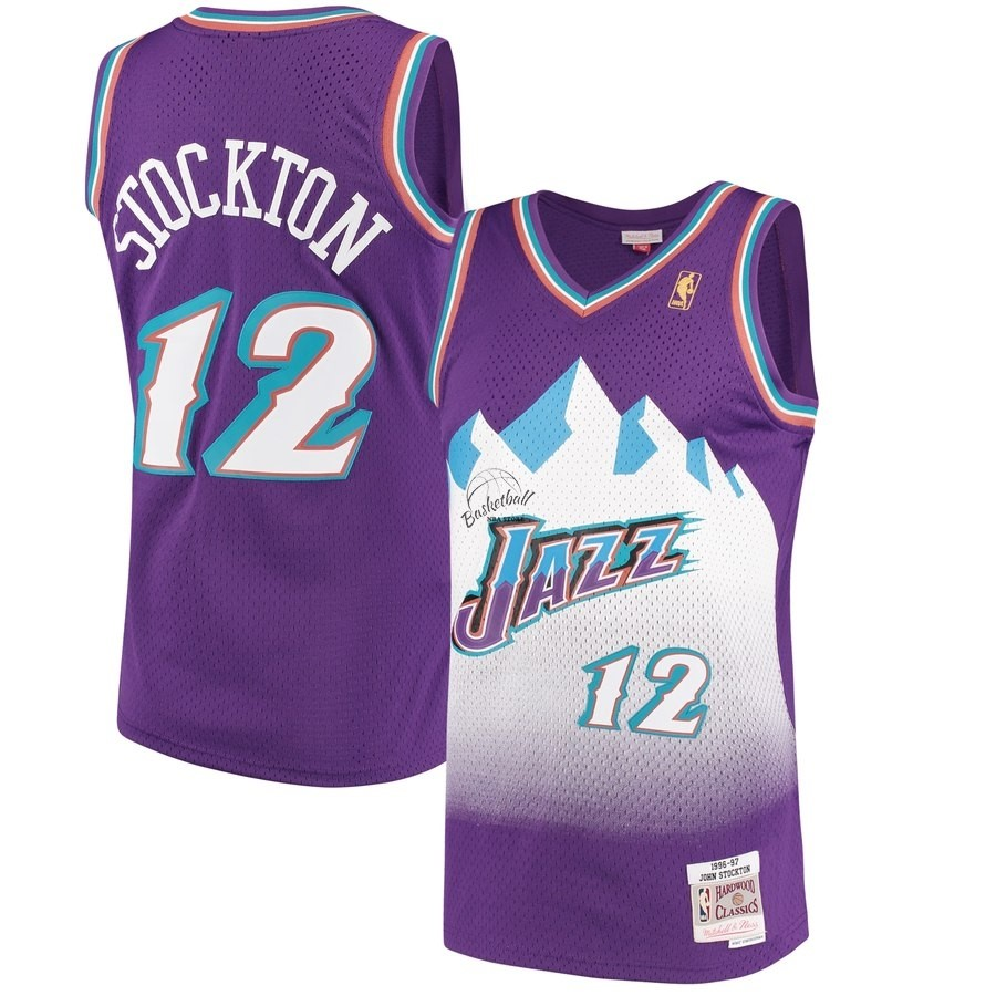 Choisir Maillot NBA Utah Jazz NO.12 John Stockton Pourpre Hardwood Classics 1996-97