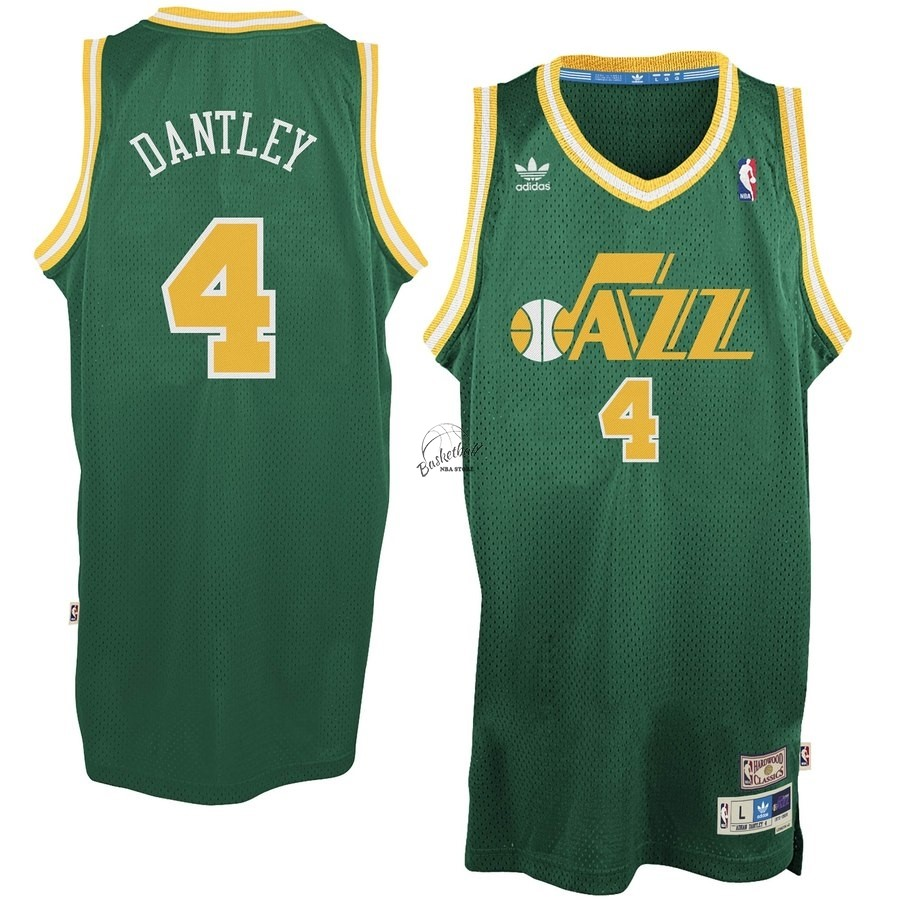 Choisir Maillot NBA Utah Jazz NO.4 Adrian Dantley Vert Hardwood Classics