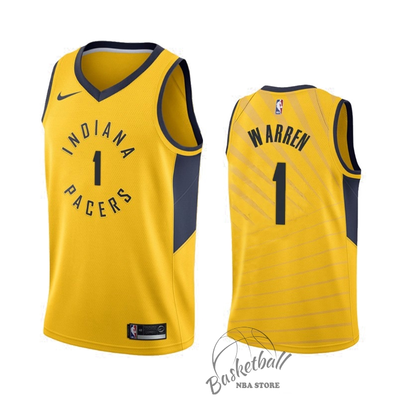 Choisir Maillot NBA Nike Indiana Pacers NO.1 T.J. Warren Gray Jaune Statement 2019-20