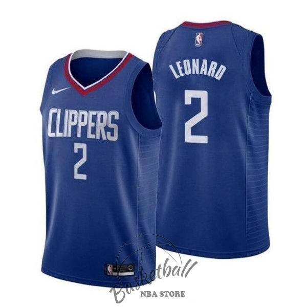 Choisir Maillot NBA Nike Los Angeles Clippers NO.2 Kawhi Leonard Bleu Icon 2019-20