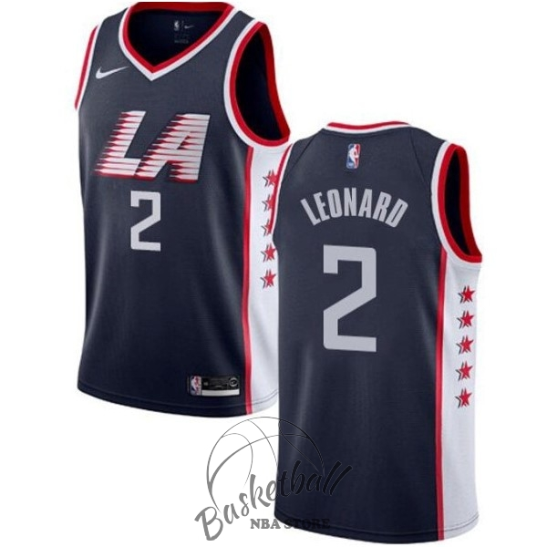 Choisir Maillot NBA Nike Los Angeles Clippers NO.2 Kawhi Leonard Marine Ville 2019-20