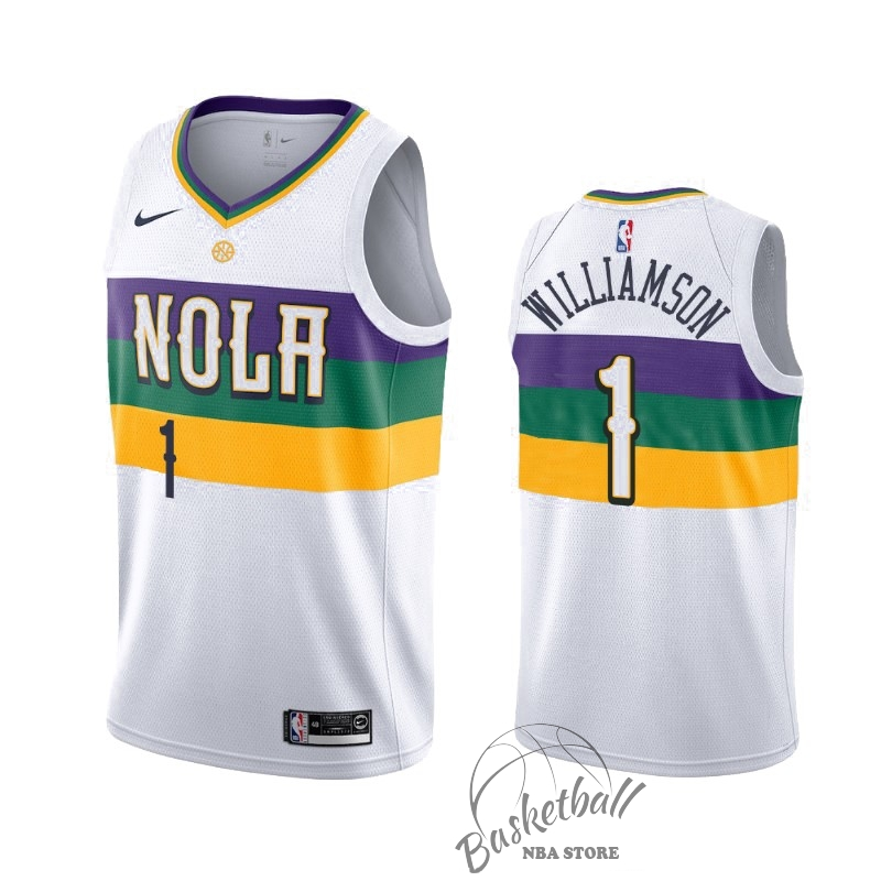 Choisir Maillot NBA Nike New Orleans Pelicans NO.1 Zion Williamson Nike Blanc Ville 2019-20