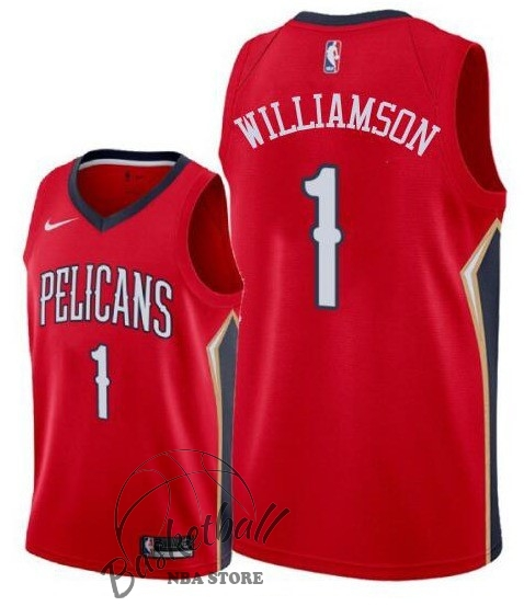 Choisir Maillot NBA Nike New Orleans Pelicans NO.1 Zion Williamson Rouge 2019-20