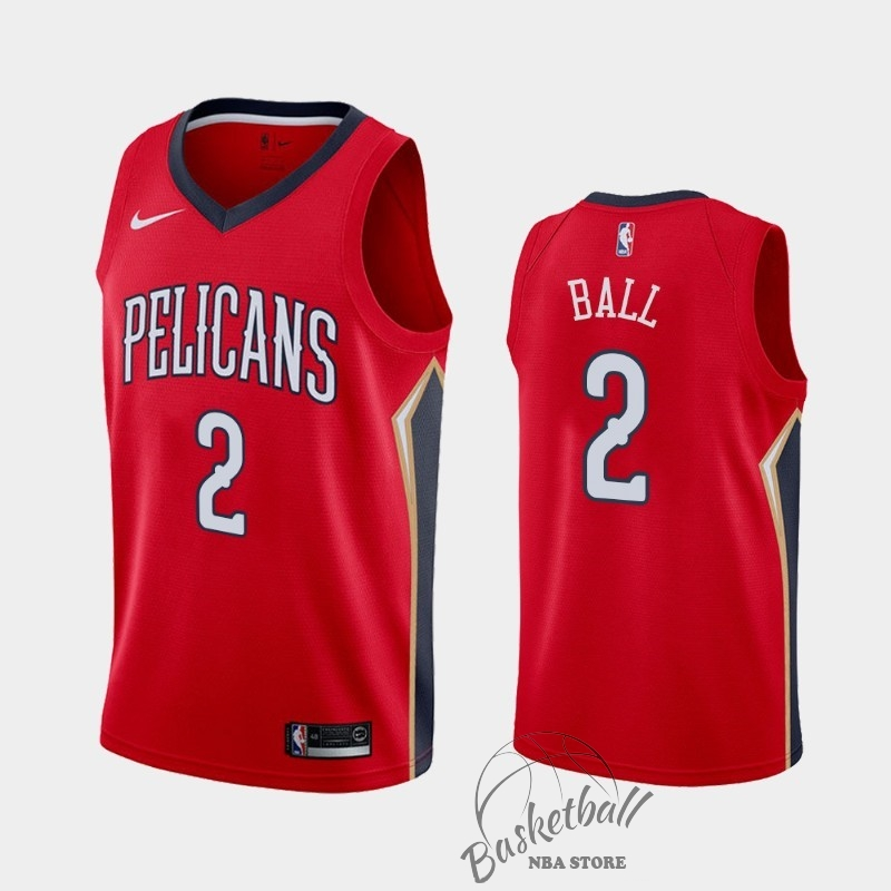 Choisir Maillot NBA Nike New Orleans Pelicans NO.2 Lonzo Ball Rouge Statement 2019-20