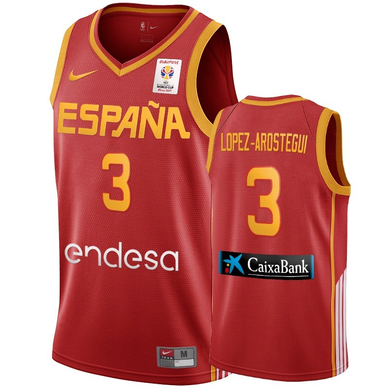 Choisir Maillot Coupe Du Monde Basket FIBA 2019 Spain NO.3 Lopez Arostegui Vin rouge