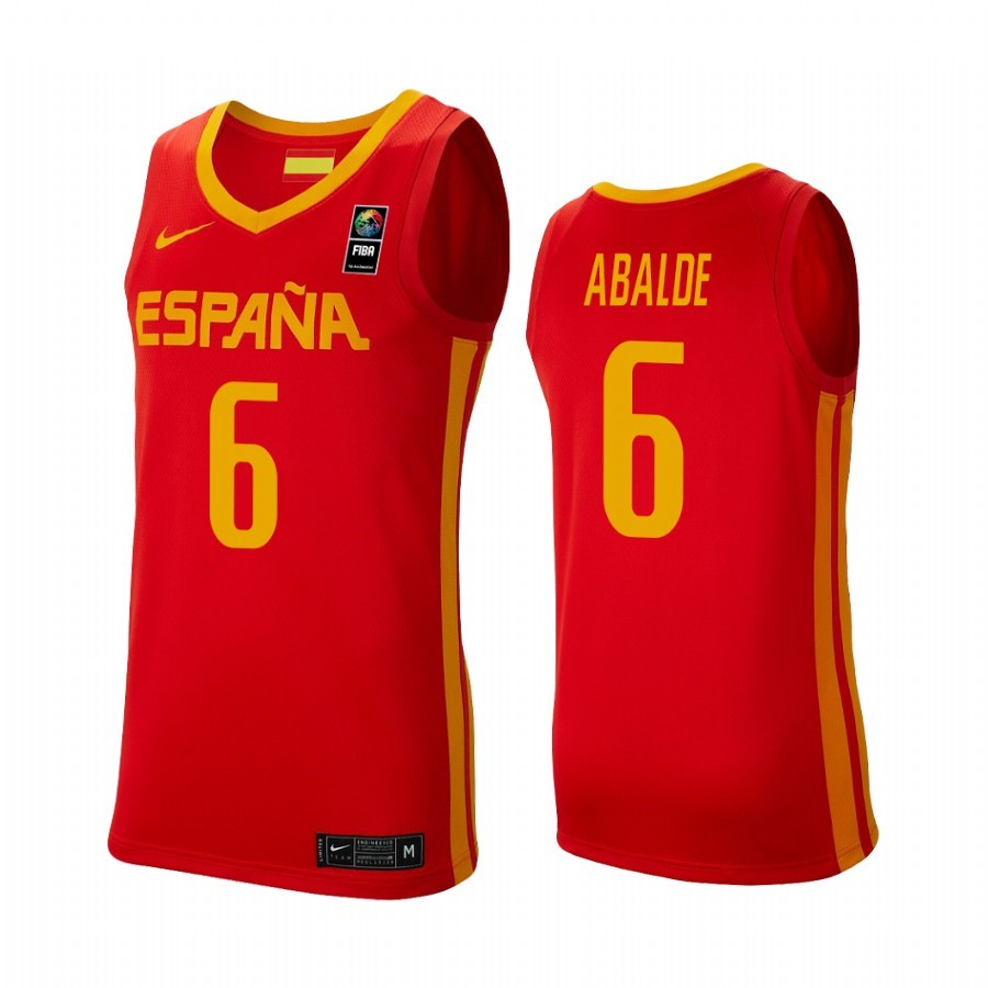 Choisir Maillot Coupe Du Monde Basket FIBA 2019 Spain NO.6 Alberto Abalde Rouge