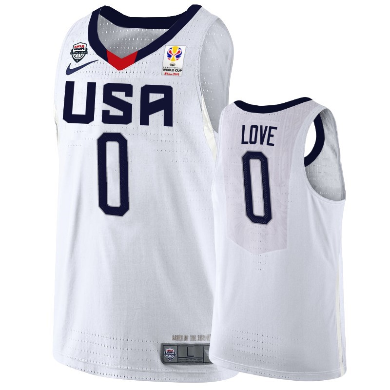 Choisir Maillot Coupe Du Monde Basket FIBA 2019 USA NO.0 Kevin Love Blanc