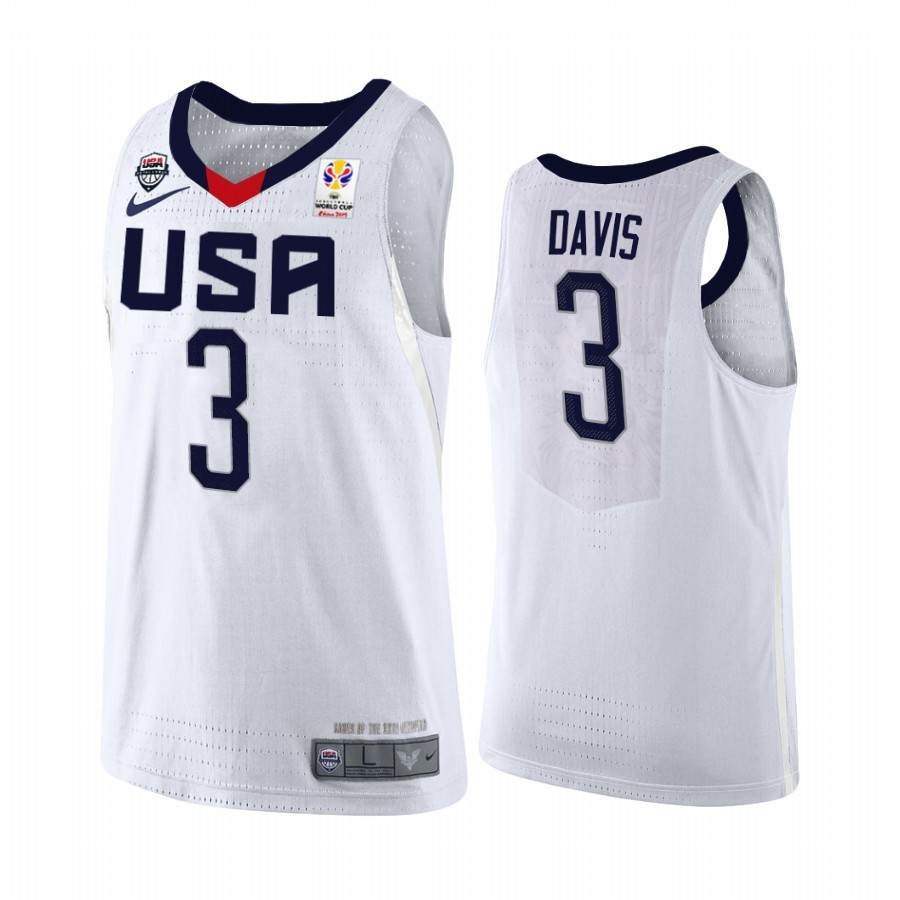 Choisir Maillot Coupe Du Monde Basket FIBA 2019 USA NO.3 Anthony Davis Blanc