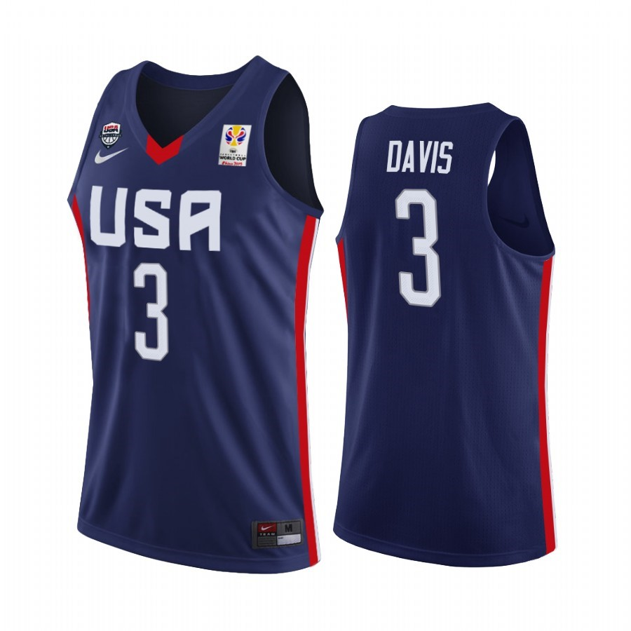 Choisir Maillot Coupe Du Monde Basket FIBA 2019 USA NO.3 Anthony Davis Marino