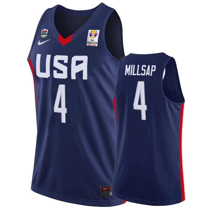 Choisir Maillot Coupe Du Monde Basket FIBA 2019 USA NO.4 Paul Millsap Marino