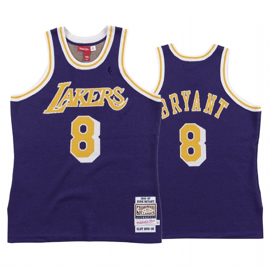 Choisir Maillot NBA Los Angeles Lakers NO.8 Kobe Bryant Pourpre Hardwood Classics 1996-97