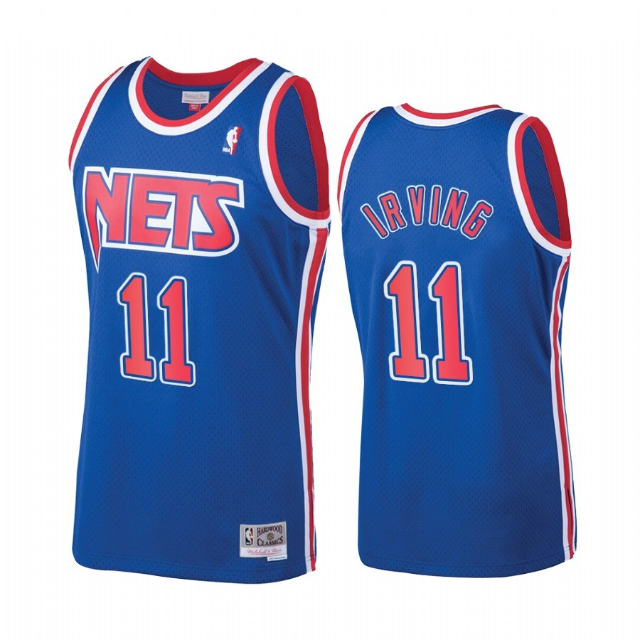 Choisir Maillot NBA New Jersey Nets NO.11 Kyrie Irving Bleu Hardwood Classics 1992-93