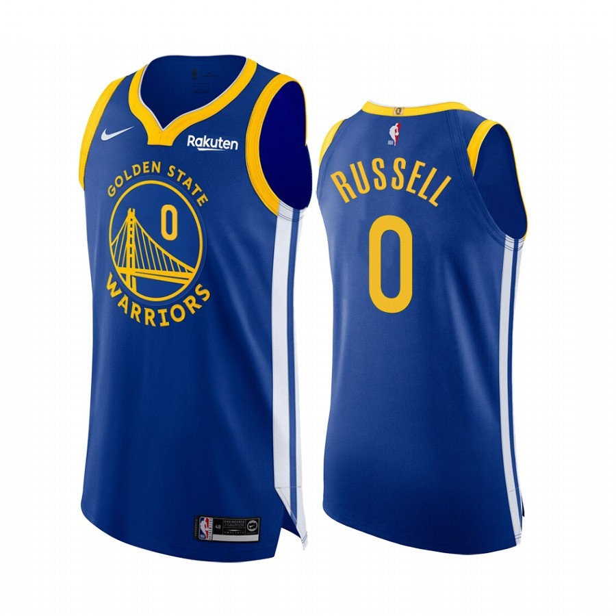 Choisir Maillot NBA Nike Golden State Warriors NO.0 D'Angelo Russell Bleu Icon Edition