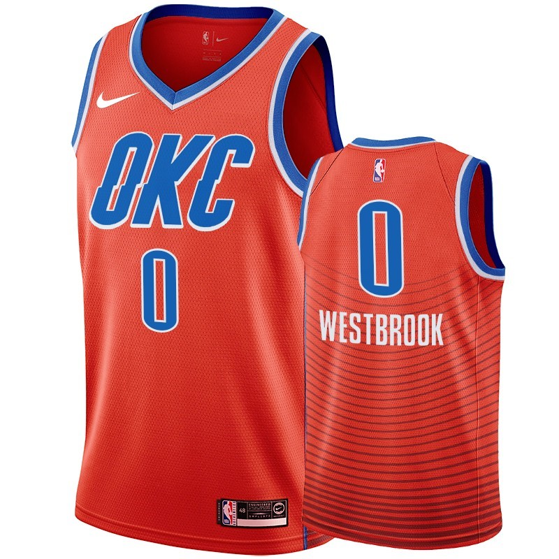 Choisir Maillot NBA Nike Oklahoma City Thunder NO.0 Russell Westbrook Orange 2019-20