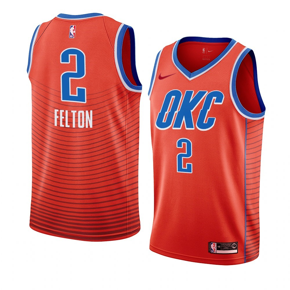 Choisir Maillot NBA Nike Oklahoma City Thunder NO.2 Raymond Felton Orange Statement 2019-20