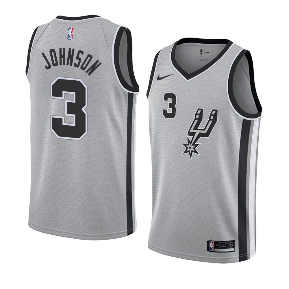 Choisir Maillot NBA Nike San Antonio Spurs NO.3 Keldon Johnson Gris Statement 2019-20