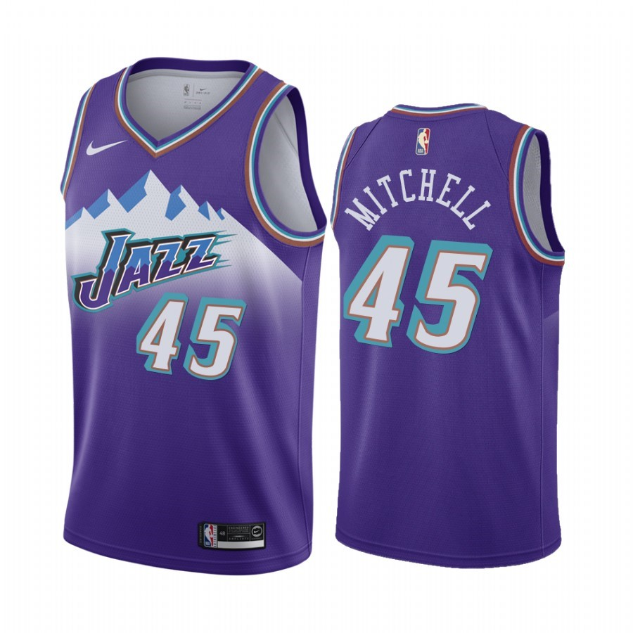 Choisir Maillot NBA Utah Jazz NO.45 Donovan Mitchell Pourprel Hardwood Classics 2019-20
