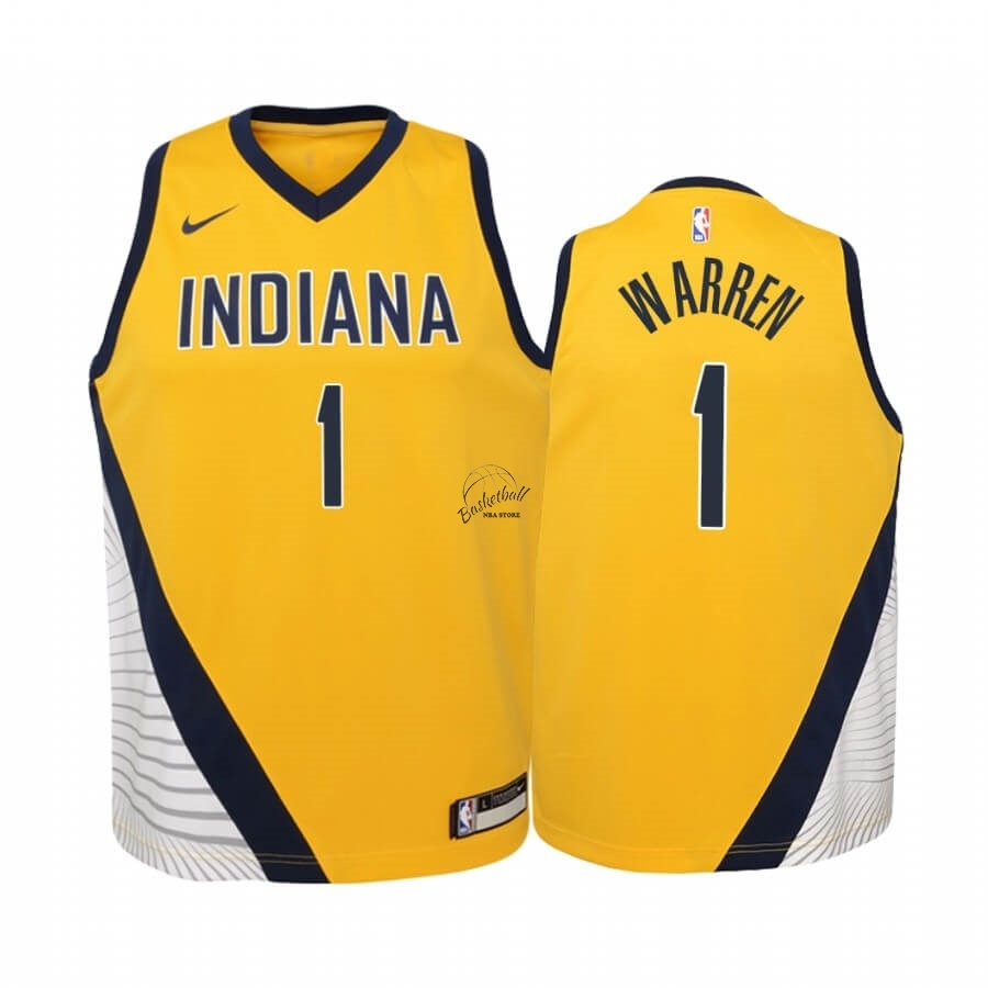 Choisir Maillot NBA Enfant Indiana Pacers NO.1 T.J. Warren Jaune Statement 2019-20