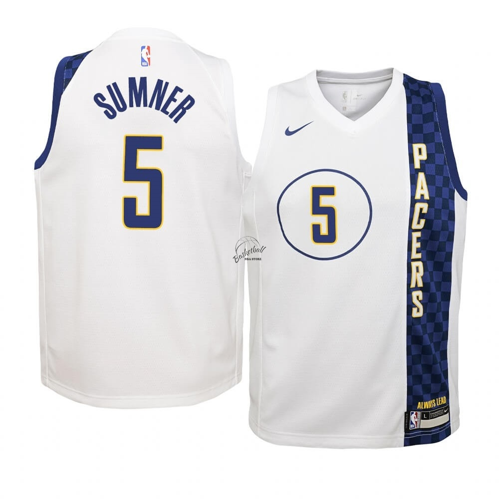 Choisir Maillot NBA Enfant Indiana Pacers NO.5 Edmond Sumner Nike Blacno Ville 2019-20
