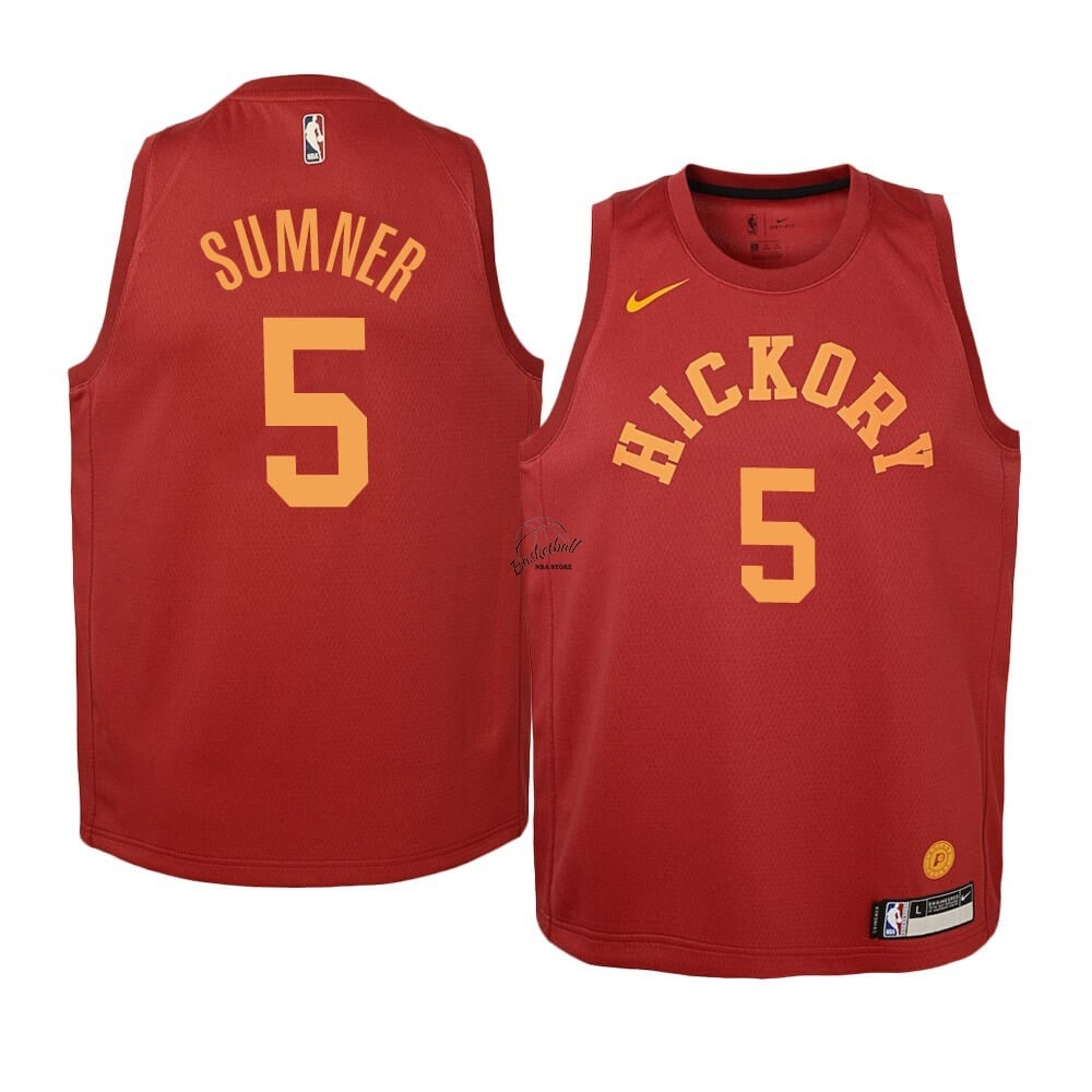 Choisir Maillot NBA Enfant Indiana Pacers NO.5 Edmond Sumner Nike Retro Bordeaux