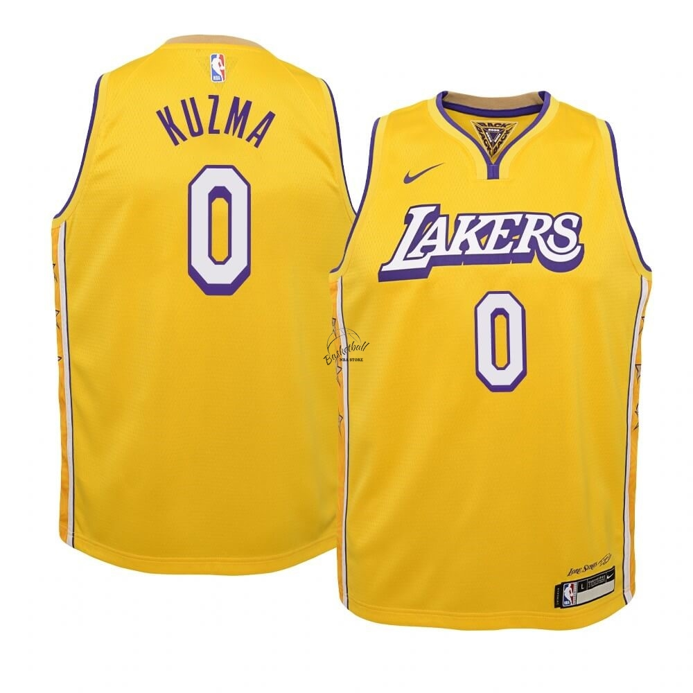 Choisir Maillot NBA Enfant Los Angeles Lakers NO.0 Kyle Kuzma Nike Jaune Ville 2019-20